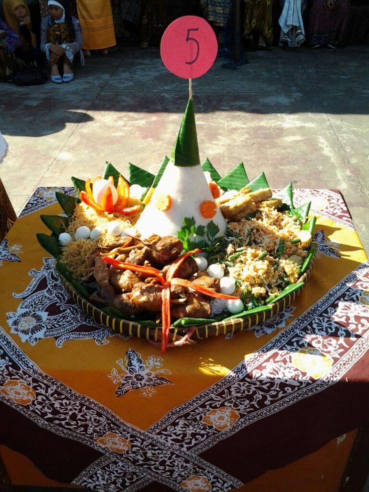 This is Nasi Tumpeng. Food from Indonesia