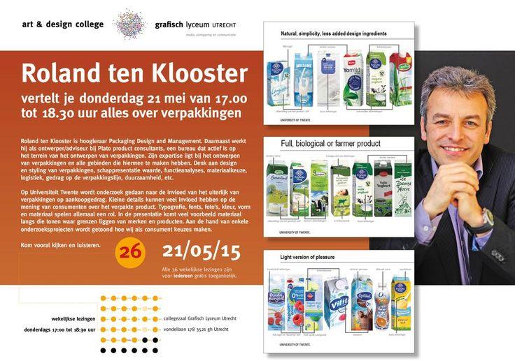 Roland ten Klooster vertelt do 21 mei 17.00-18.30 alles over verpakkingen! GLU, Collegezaal, Vondellaan 178 Utrecht!