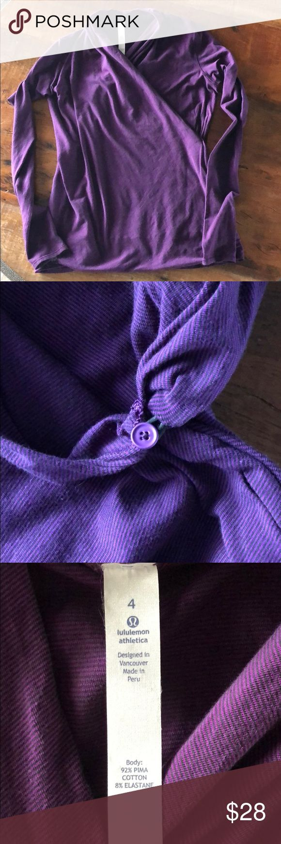 Lululemon Top Purple Long sleeve Lululemon top, that has a side button hook (see pic) And also has thumb holes in which a picture is shown. 92% Pima Cotton/8% Elastane. No holes nor pilling, excellent condition! lululemon athletica Tops Tees - Long Sleeve