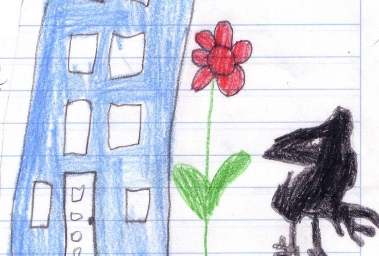 """Nach einem Gedicht von Josef Guggenmos """" Der Rabe""""  gestaltete Jana ihren eigenen Text mit Zeichnung. Hier siehst du ein Bild von einem der..."""