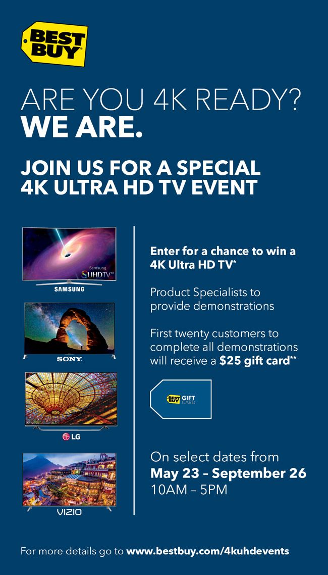 Technology | Events | Best Buy will be having 4k Ultra HD Vendor Demonstration Days on select Saturdays from May 23 – September 26, 2015. Learn from…