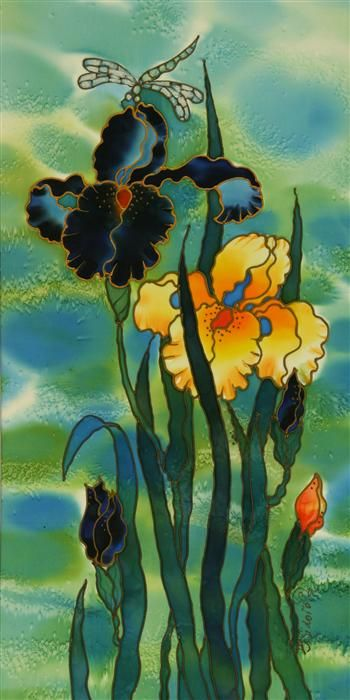 Original art for sale at UGallery.com | Two Irises by Yelena Sidorova | mixed media artwork | 24' h x 12' w