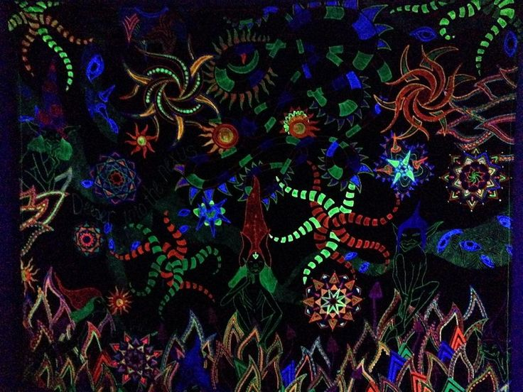 Deeper into Nexus - by Billie De Beer  Psytrance artworks - 3m x 2.4m  UV and Glow in the Dark Art - Wall Decor  Available on  http://sherrynssecret.com/index.php?route=product/category&path=126