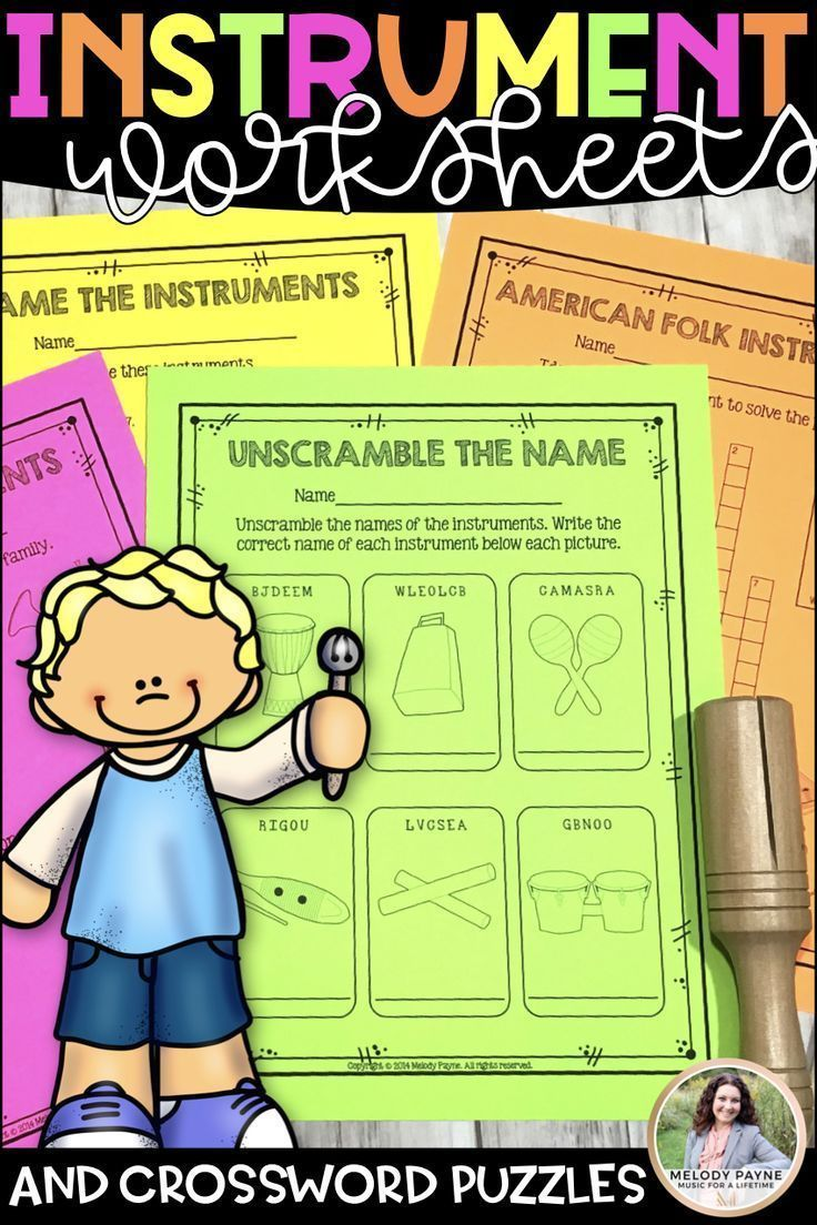 Musical instrument worksheets crossword puzzles for