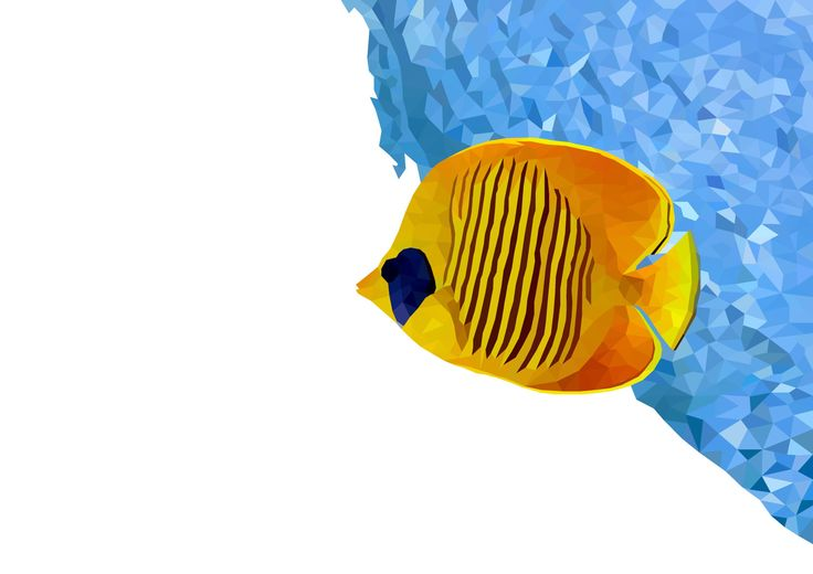 Polygonal Yellow Butterflyfish Print, Instant Download by VaciDesign on Etsy
