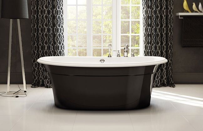 MAAX Ella Sleek freestanding tub with gloss black skirt ...
