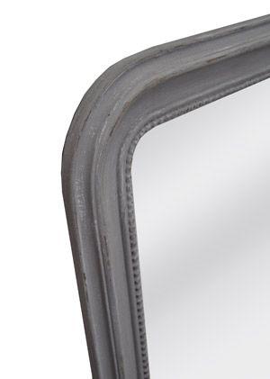 Miroir en bois bord perle patin style ancien taupe for Miroir contour gris