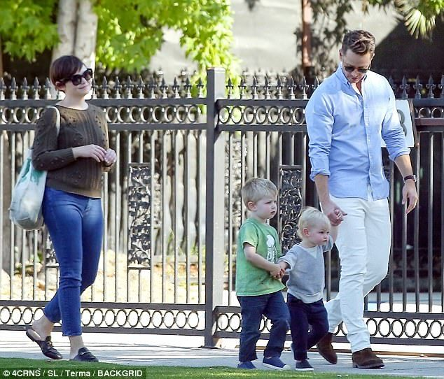 Party of four: Ginnifer Goodwin and Josh Dallas took their two toddler sons, three-year-old Oliver and one-year-old Hugo, out for a sunlit Los Angeles walk Tuesday