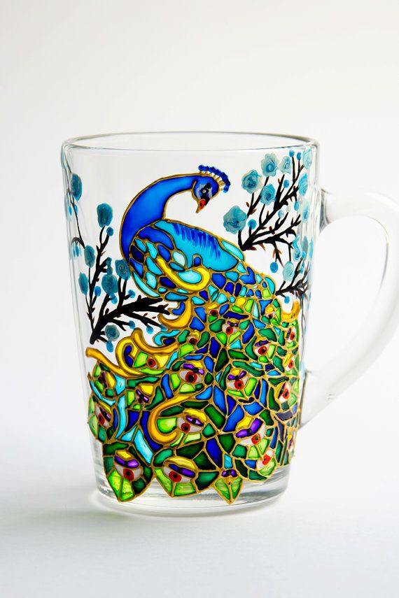 Peacock  Coffee Mug, Hand Painted Peacock, Custom Mug