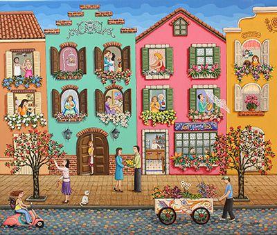 Gossiping Neighborhood by Laura Vidra - GINA Gallery of International Naive Art