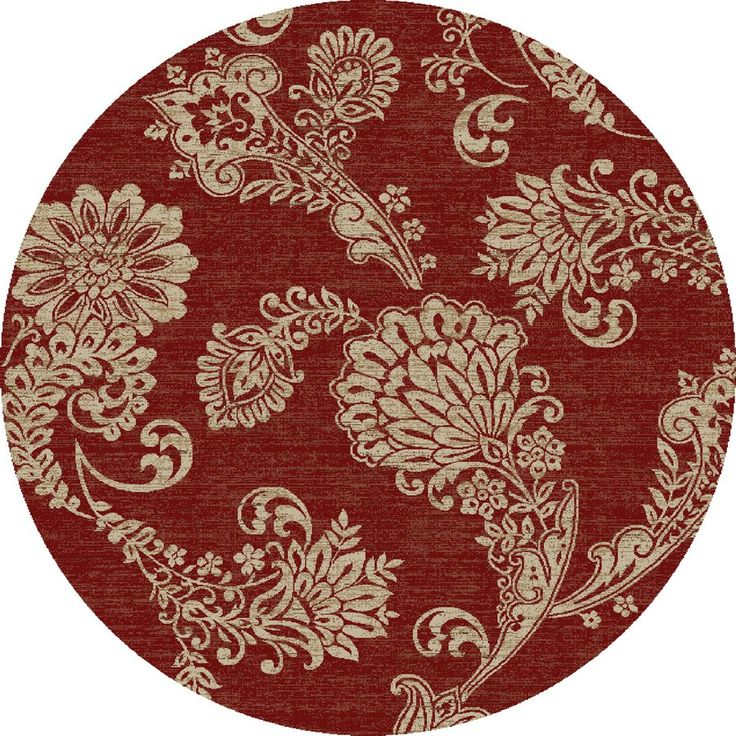Concord Global Kensington Red Round Indoor Woven Nature Area Rug  63 inch round $170