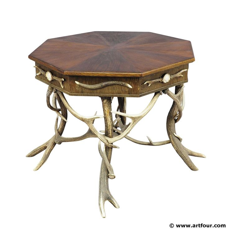 elaborately crafted octagonal antler table ca. 1900