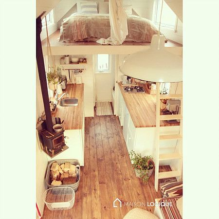 Ma Maison Logique is a tiny house built in Kamouraska, Quebec, by its owners, Pascal Dube and Catherine Duval. The home is environmentally friendly and made from local resources.