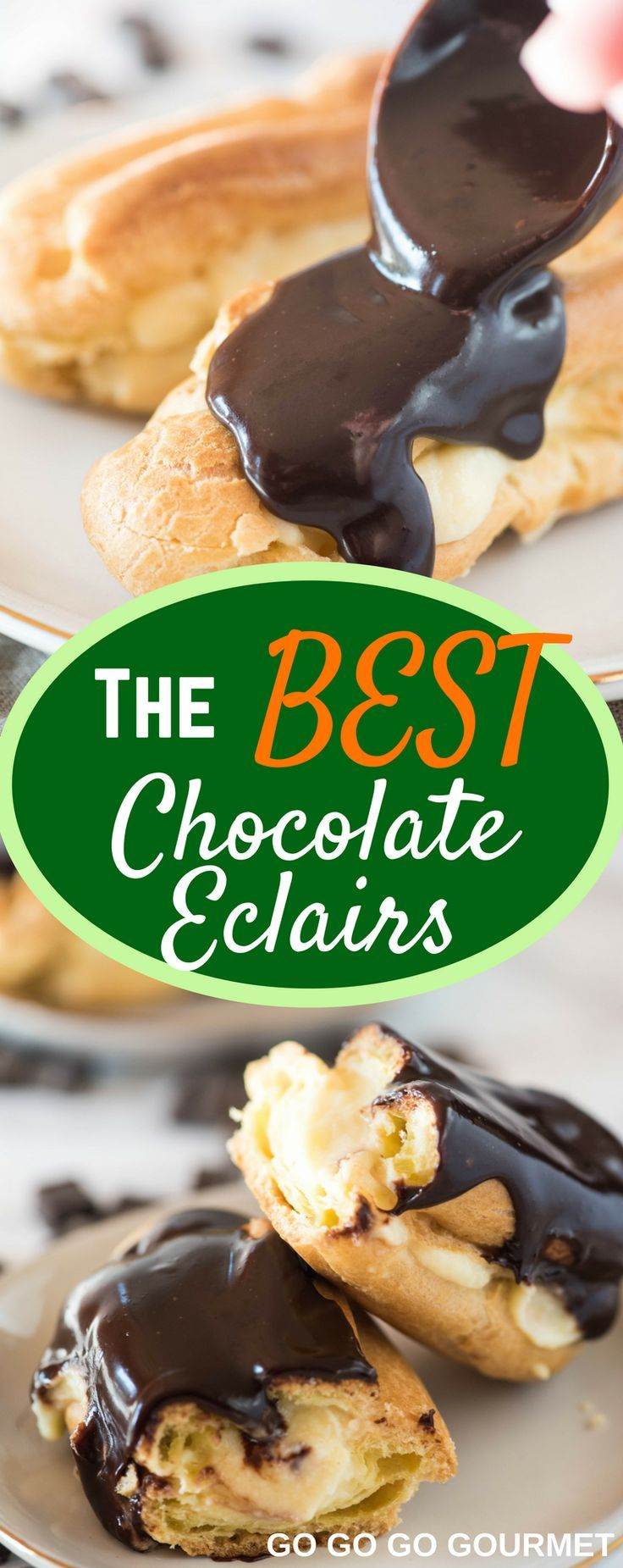 Forget the cake, pie and cupcakes, this easy Chocolate Eclair recipe will take you to French dessert heaven! #easychocolateeclair #frenchdesserts #chocolateeclairrecipe #easydessertrecipes #gogogogourmet