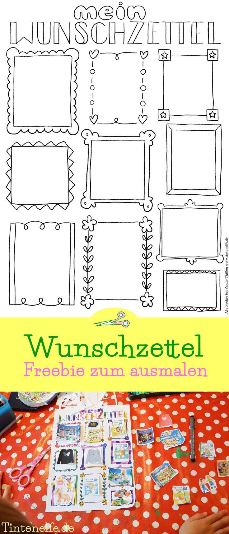 Wunschzettel Freebie zum ausdrucken und ausmalen Zu Weihnachten oder zum Geburtstag Vorlage zum malen