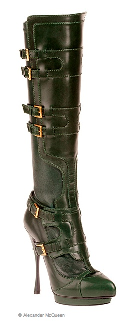 Alexander McQueen - green leather boots 2012 Pre-Fal