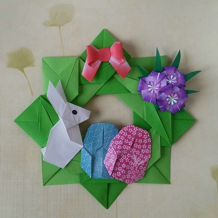 Origami Easter wreath Folded by Majomajo