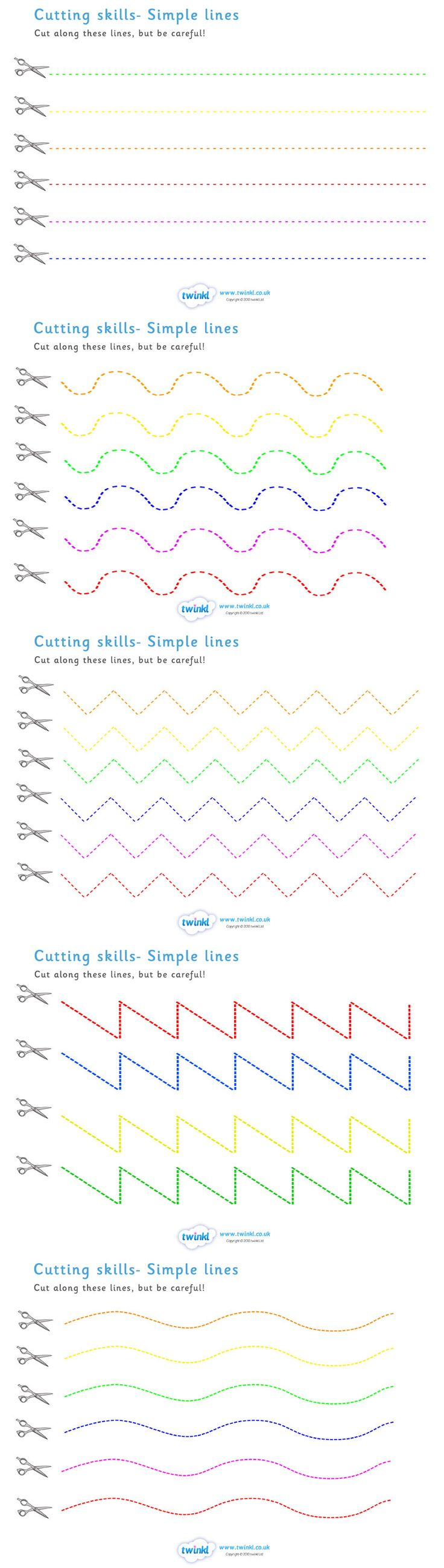 Twinkl Resources >> Cutting Skills Worksheets (Colour Lines) >> Thousands of printable primary teaching resources for EYFS, KS1, KS2 and beyond! education, home school, cutting, scissors, lines, coloured lines, home learning,