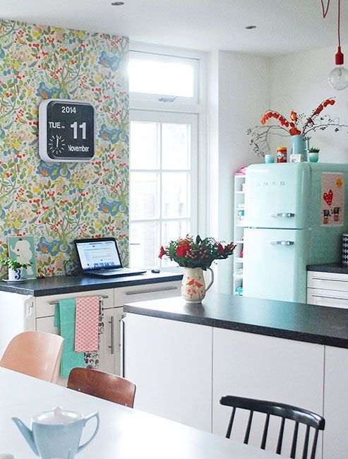 Love this kitchen and the aqua fridge!  Floral Patterns For Home Décor: 37 Cool Ideas | DigsDigs