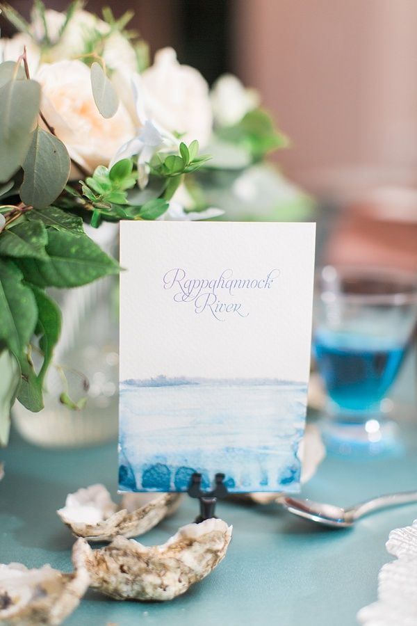 ideas for beach wedding party favors%0A Watercolor river name wedding table numbers with calligraphy font