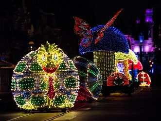 A COLORFUL HOMECOMING - Jittering insects light up the parade route in beautiful, bright colors during the Main Street Electrical Parade at Disneyland park.  The Main Street Electrical Parade will run for a limited-time, through June 18, 2017, at Disneyland park. (Scott Brinegar/Disneyland)