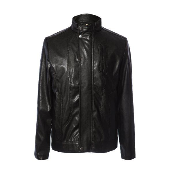 Stylish Solid Color Stand Collar Pocket and Zipper Design Slimming Long Sleeves Men's PU Leather Coat #jewelry, #women, #men, #hats, #watches, #belts, #fashion