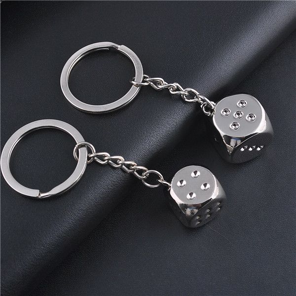Hot Selling Fine Quality Zinc Alloy Key Chain Keyring Dice 3D Keyfob Fashion Cool Gift for Men