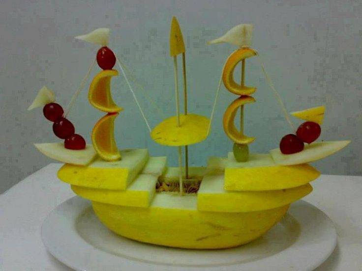 Wow! Melon pirate ship...and a lot of clever structural supports!
