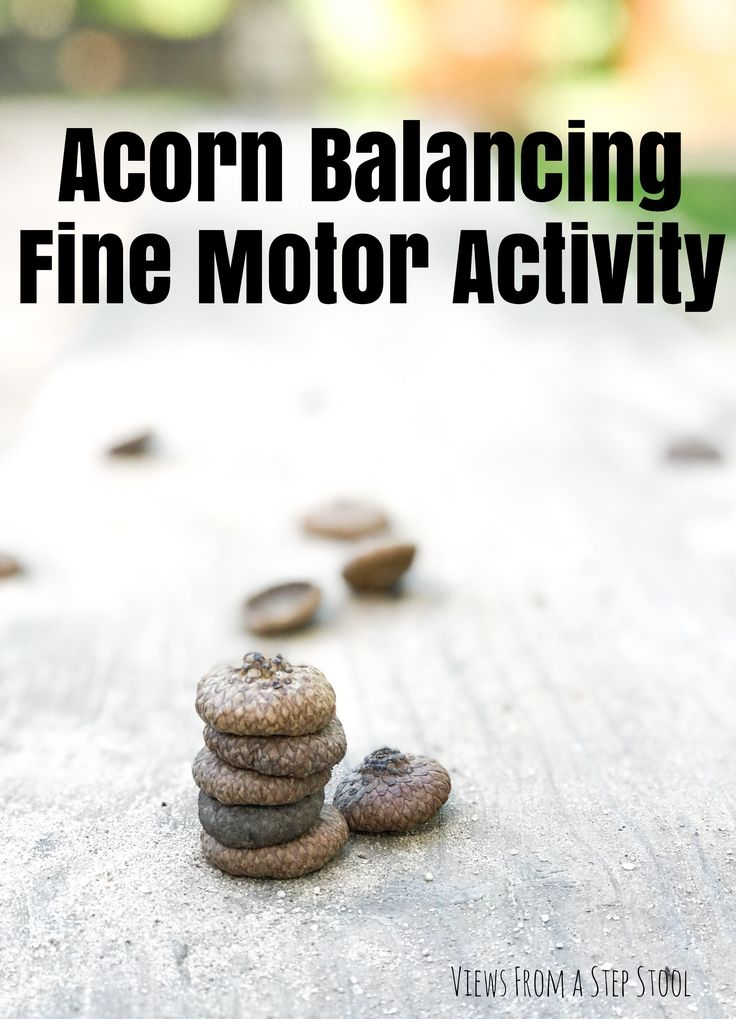 This acorn balancing fine motor activity is a great way to practice fine motor skills, all while building persistence and grit.