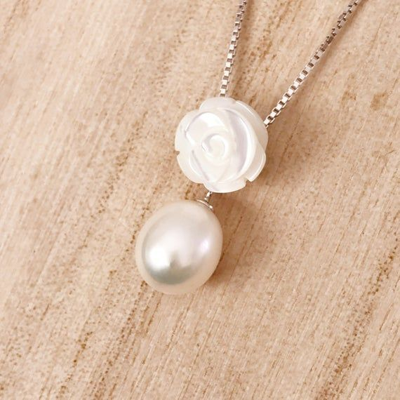 Freshwater Ivory Pearl Pendant Long Silver Chain Necklace 925 Sterling Silver