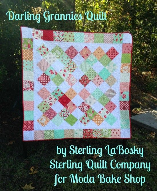 "Darling Grannies Quilt | Moda Bake Shop | Bloglovin  Jeans: skip the border, make each block 4 rounds using 5"" squares, should measure 76"" wide if I do 3 blocks across"