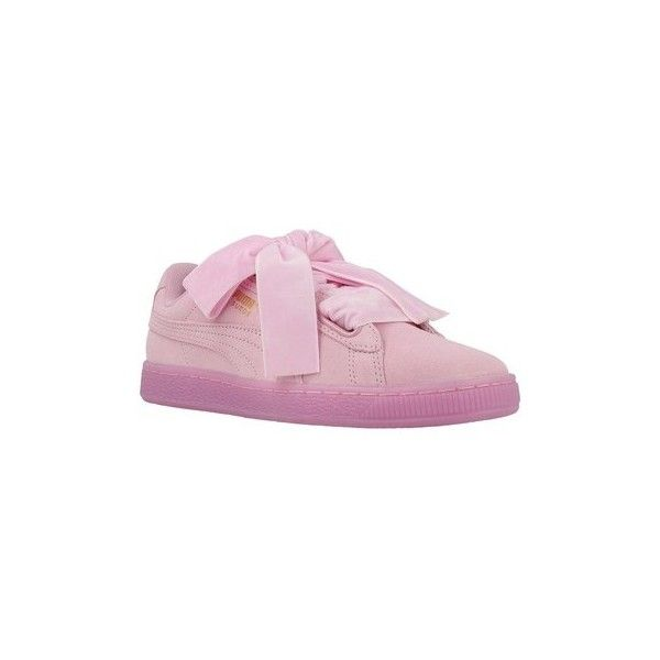 Puma Suede Heart Reset WN S P Shoes (Trainers) (€175) ❤ liked on Polyvore featuring shoes, sneakers, pink, trainers, women, pink suede shoes, heart sneakers, suede leather shoes, heart shoes and suede shoes