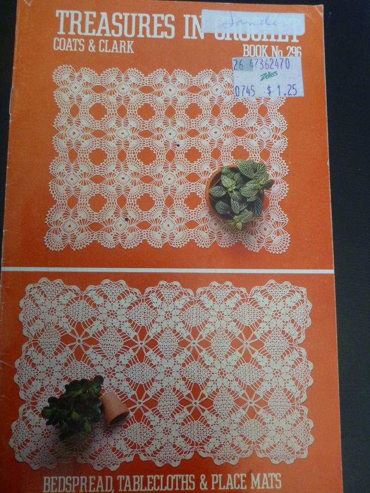 Treasures in Crochet by Coats & Clark - Book No. 296 - crochet bedspread,crochet tablecloths, crochet place mats. 947 by CarolsCreations77 on Etsy