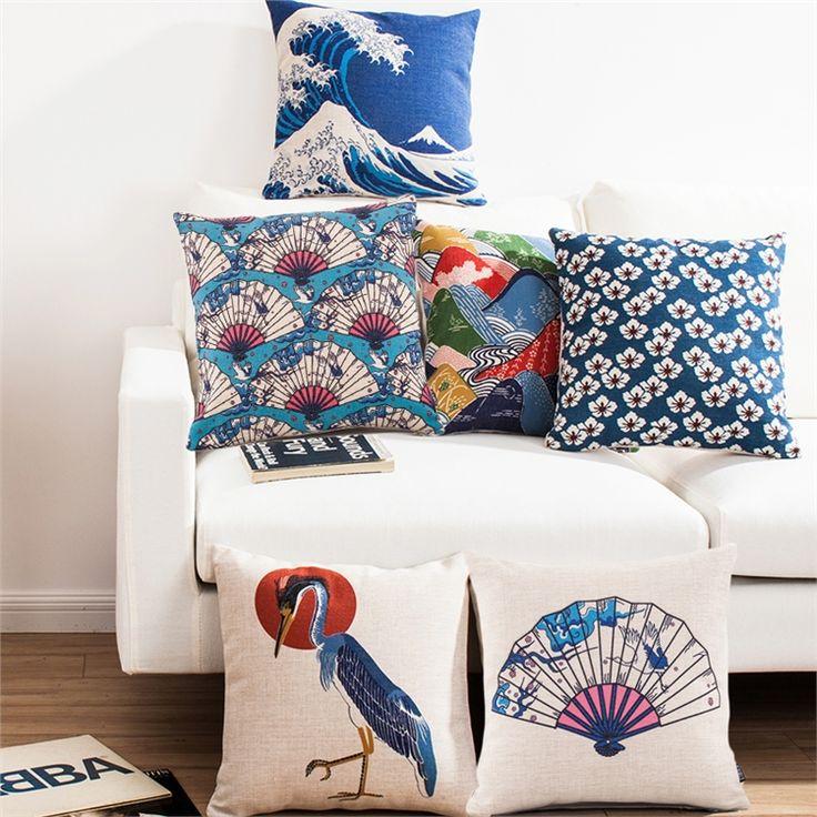 クッションカバー 抱き枕カバー 枕カバー 和風 リネン 桜&富士山&鶴 6点
