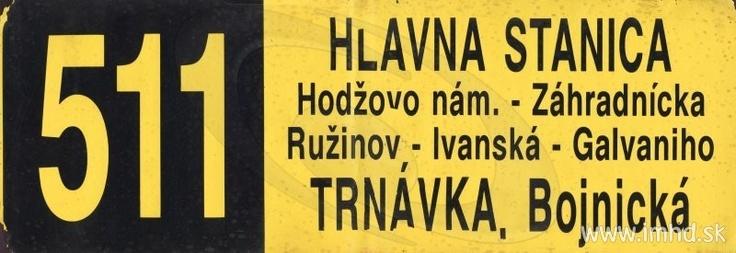 511 - Hlavná stanica -> Trnávka, Bojnická