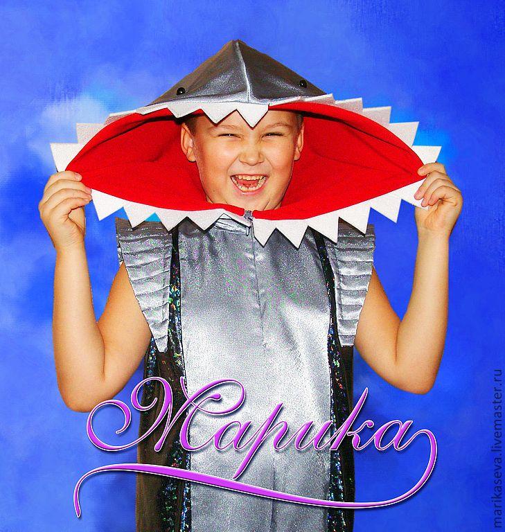 """Купить карнавальный костюм"""" Акула"""" - серебряный, однотонный, карнавал, карнавальный костюм, дети-акулы"""