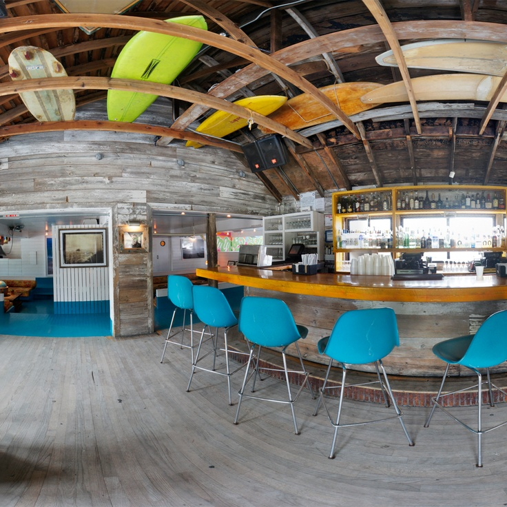 I like this space - surfboards in the ceiling! The Surf Lodge Montauk, Montauk, New York #JSSurf
