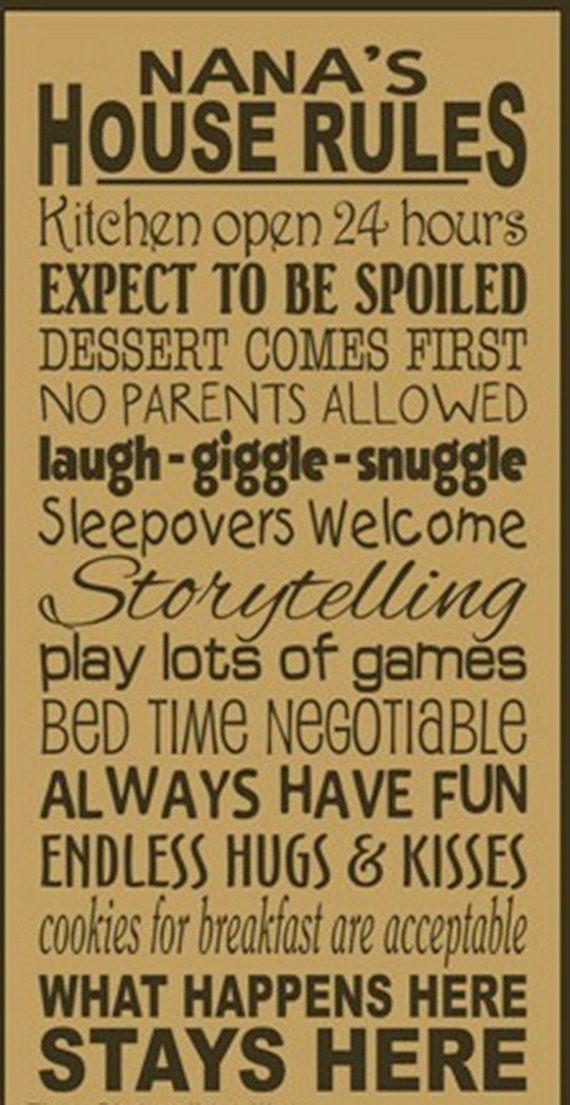 Nana's love their grandchildren | Nana's House Rules Wooden Primitive Sign by kshopa on Etsy