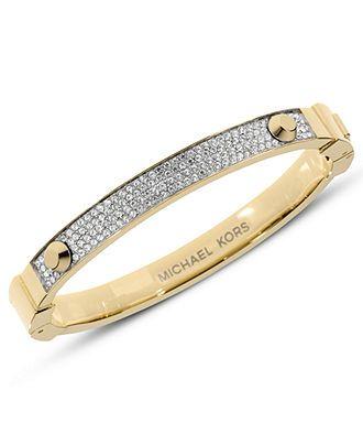 Michael Kors Bracelet, Gold Tone Pave Hinge Bracelet - Fashion Jewelry - Jewelry & Watches - Macy's