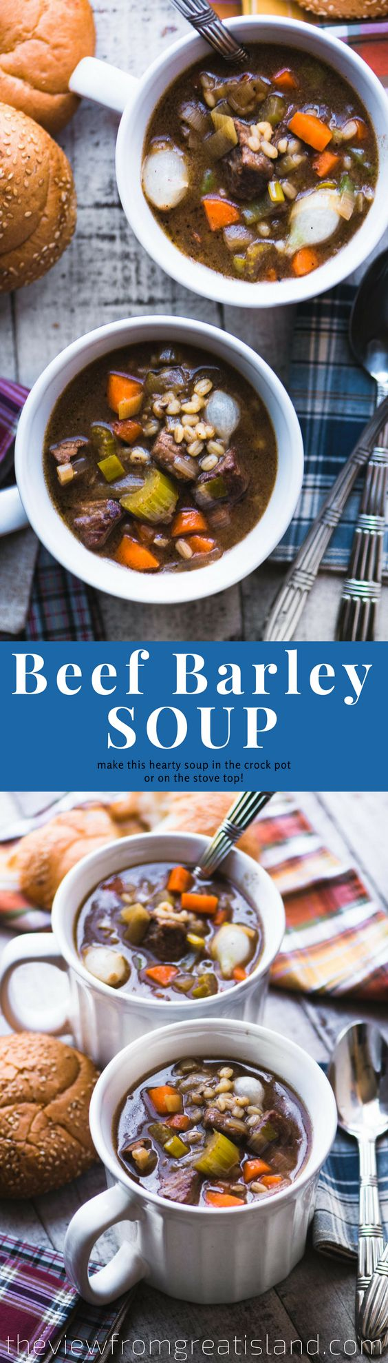 Beef Barley Soup ~ Simmer it on the stove, or let the slow cooker do the work.