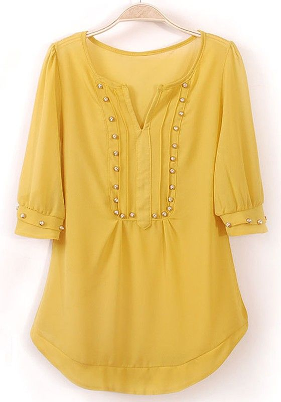 Yellow Rivet Irregular V-neck Half Sleeve Chiffon Blouse