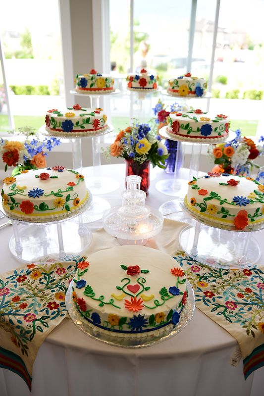 Loved this Spanish Theme Wedding Reception with all of the bright colors on these wedding cakes! Such an awesome setup in the atrium of our Garden Room here at Sleepy Ridge.  Visit our website for more pictures from this fun wedding!