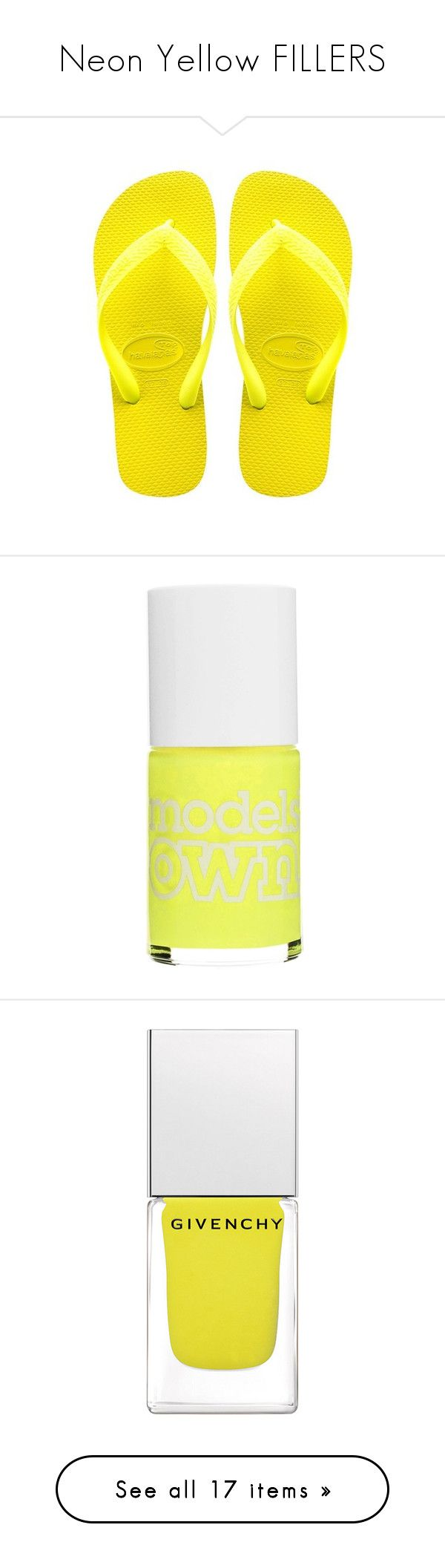 """""""Neon Yellow FILLERS"""" by stelbell ❤ liked on Polyvore featuring neon, fillers, neonfillers, shoes, sandals, flip flops, flats, neon yellow shoes, neon yellow flip flops and neon yellow sandals"""