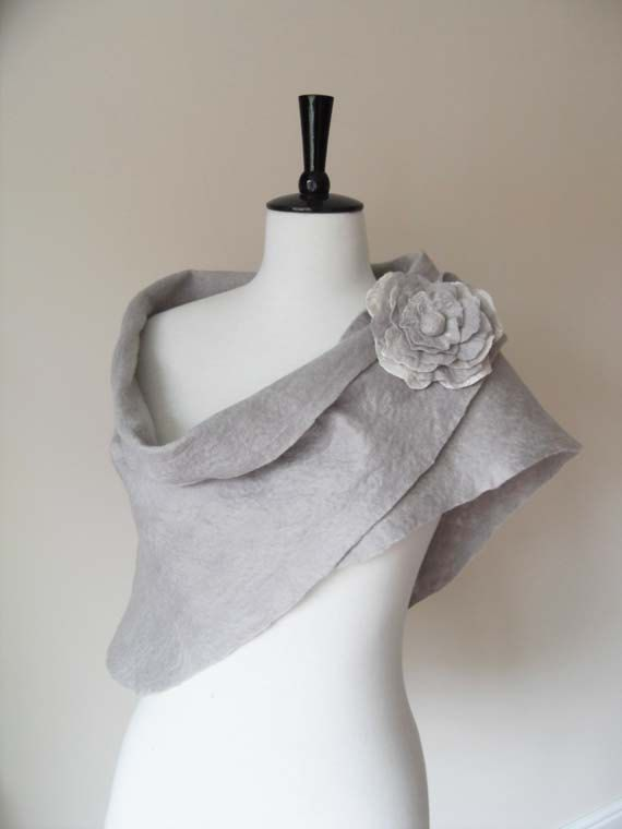 Wedding Shawl Bridal Shawl Bridal Wrap Silver by softadditions