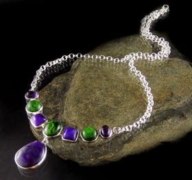 Necklace in Gem Quality Sugilite, Amethyst & rare Chrome Diopside by Entia Silver Jewellery. Cabachons are set on a sterling silver belcher chain. www.threemadfish.com