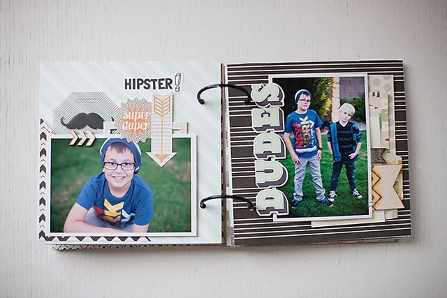 Your School Style Mini Album — All for the Memories - make your own mini album with scraps and jump rings - several page layouts shown in post.