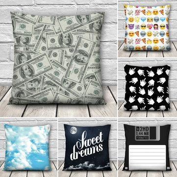 Funny 3D Dollars Emoji Books Throw Pillow Case Home Sofa Office Car Cushion Cover Gift