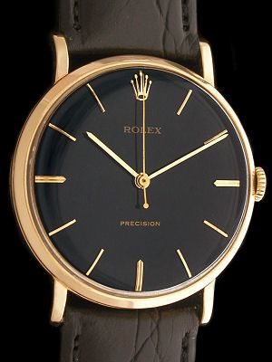 1964 Black/Gold Vintage Rolex Precision - Classic Rolex Dress Watch with Solid…