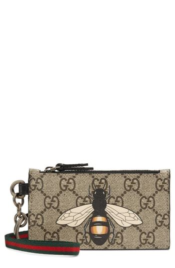 26c84c5115d1 Gucci GG Supreme Bee Print Lanyard Card Case | Womens Wallet Styles ...