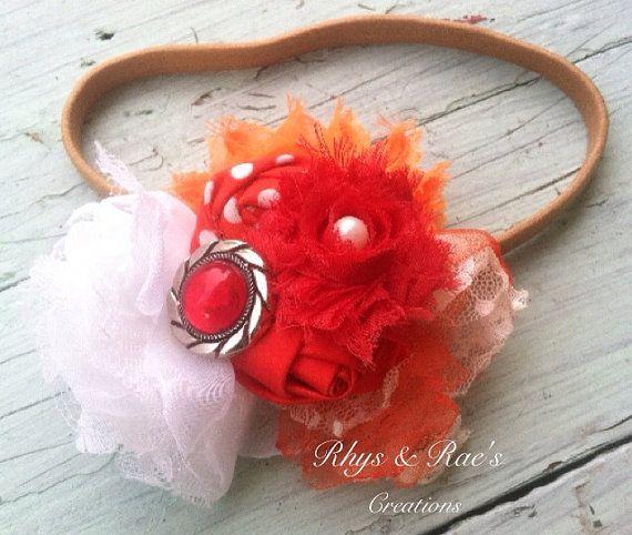 Orange, Burnt Orange, White, Polka Dots, Tulle & Lace Fabric Flowers, Rosette Fabric Flowers, Headband/Brooch/Hair Clip, Colorful, Belt on Etsy, $15.50
